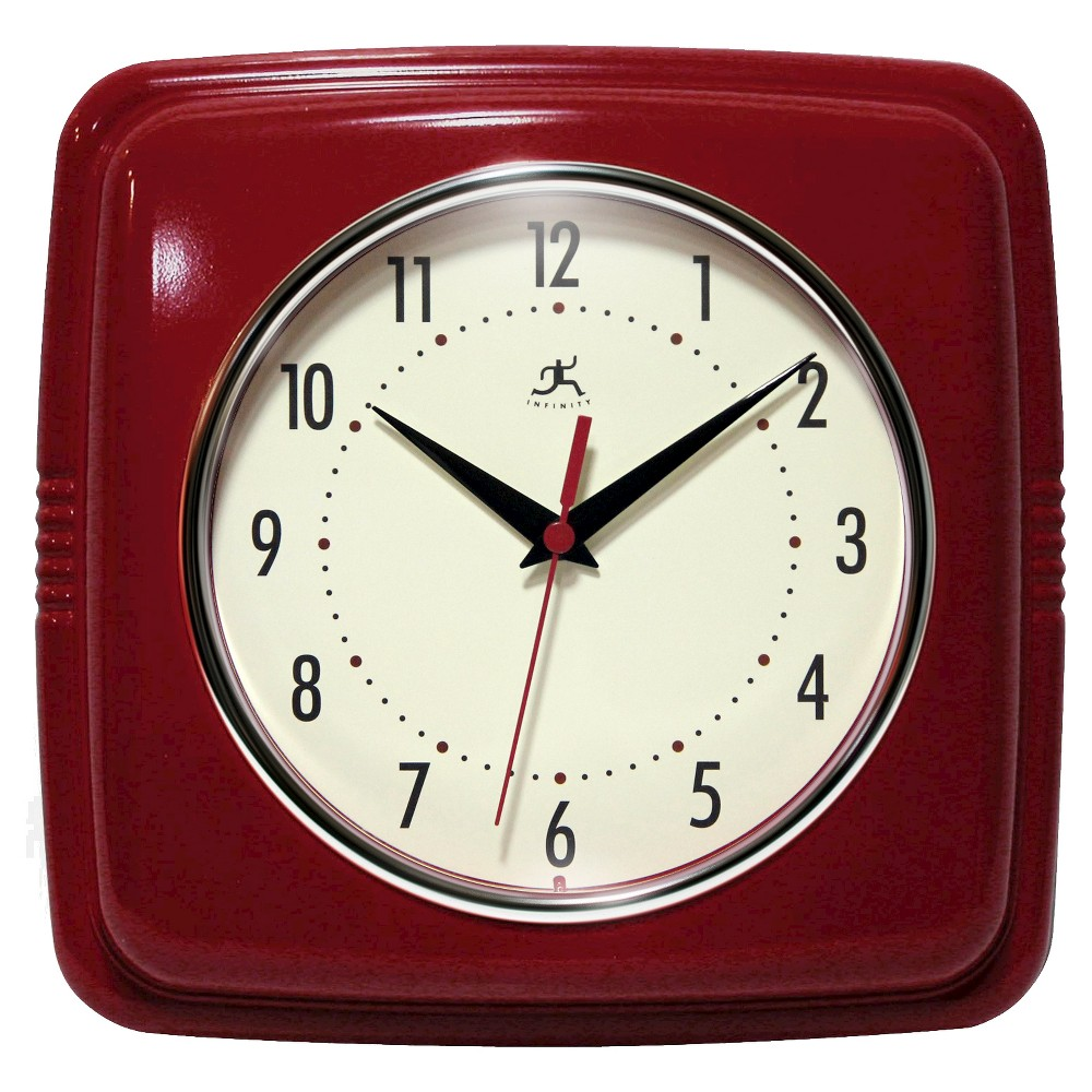 "Image of ""9"""" Square Retro Decorative Clock Red - Infinity Instruments"""