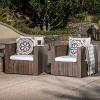 Brighton 2pk Acacia Wood Patio Club Chair - Gray/White - Christopher Knight Home - image 2 of 4