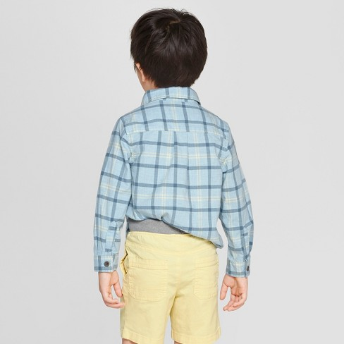 d2f8db181 Toddler Boys' Plaid Long Sleeve Button-Down Shirt - Cat & Jack™ Blue ...