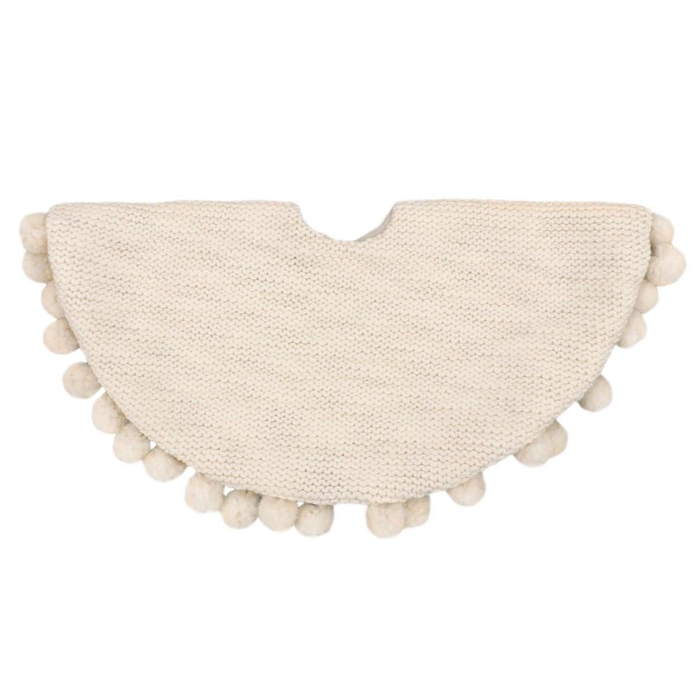 18 Mini Pom Pom Cream Tree Skirt - Wondershop, Off White