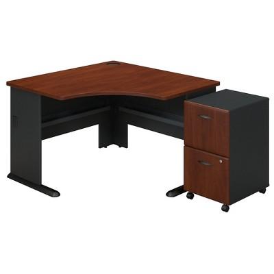 Bush Business Furniture Cubix Corner Desk with 2Dwr Mobile Pedestal, Hansen Cherry SRA036HCSU
