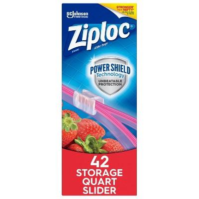 Ziploc Slider Storage Quart Bags with Power Shield Technology - 42ct