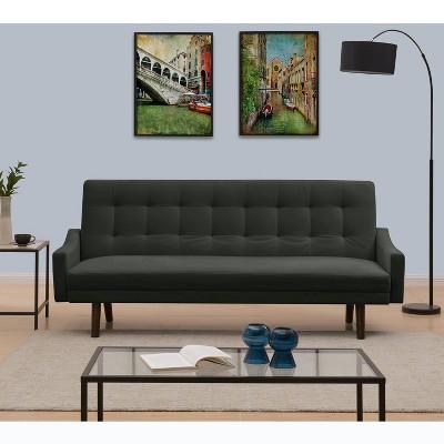 Oak Creek Click Clack Futon Sofa Bed Charcoal Gray   Handy Living