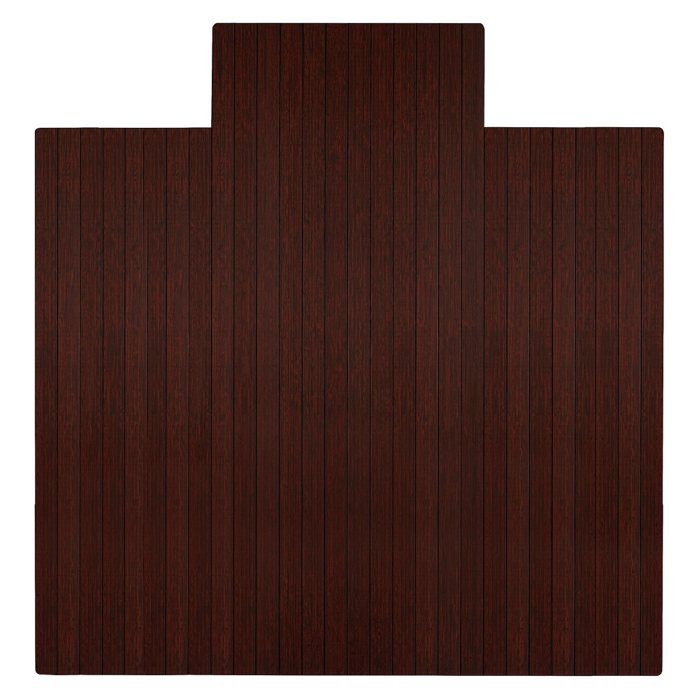 4'6X4'8 Bamboo Roll-Up Chairmat with Lip Brown - Anji Mountain