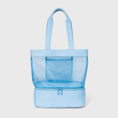 Magnetic Closure Mesh Tote Handbag - Shade & Shore™ Blue