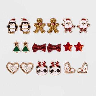 Girls' 9pk Christmas Earrings - Cat & Jack™