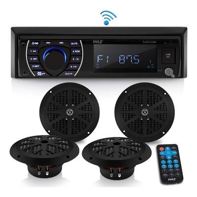 "Pyle PLMRKT48BK 6.5"" Waterproof Bluetooth Marine Receiver Stereo and Speaker Kit w/ Microphone Hands Free Calling, Remote, & Wireless Streaming, Black"