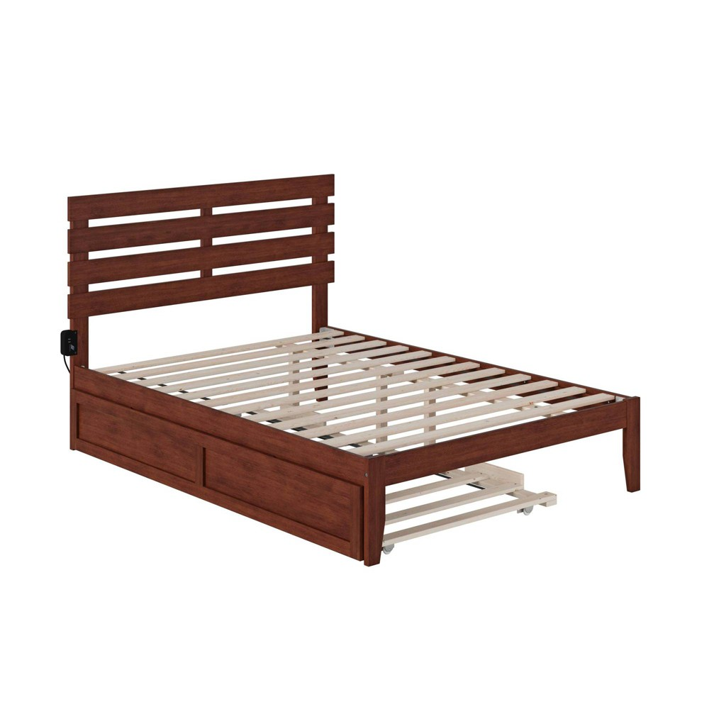 Full Oxford Bed With Usb Turbo Charger And Trundle Walnut Atlantic Furniture