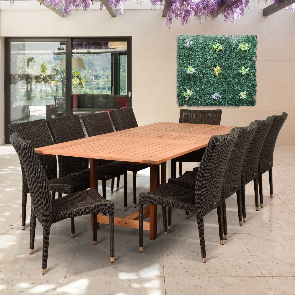 Image of 11pc Teresina Eucalyptus Patio Dining Set - Amazonia