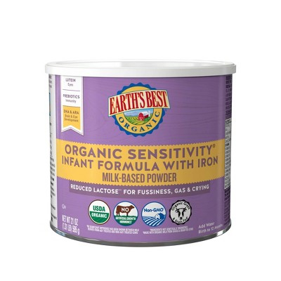 Earth's Best Organic Sensitivity Infant Formula with Iron Powder - 21oz