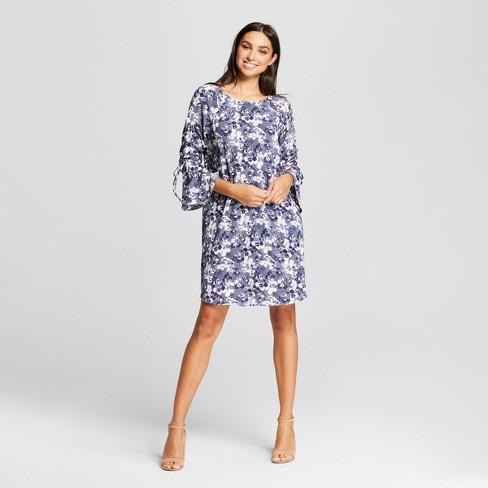 4c41a41547d Women s Long Sleeve Mini Shift Dress with Tie Sleeves - Mossimo™ Eucalyptus  Print