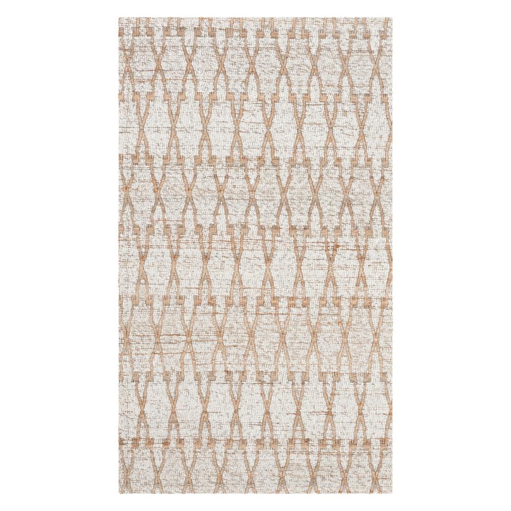4'X6' Geometric Woven Area Rug Silver/Natural - Safavieh