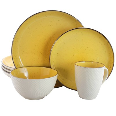 16pc Stoneware Sunflower Dinnerware Set Yellow - Elama