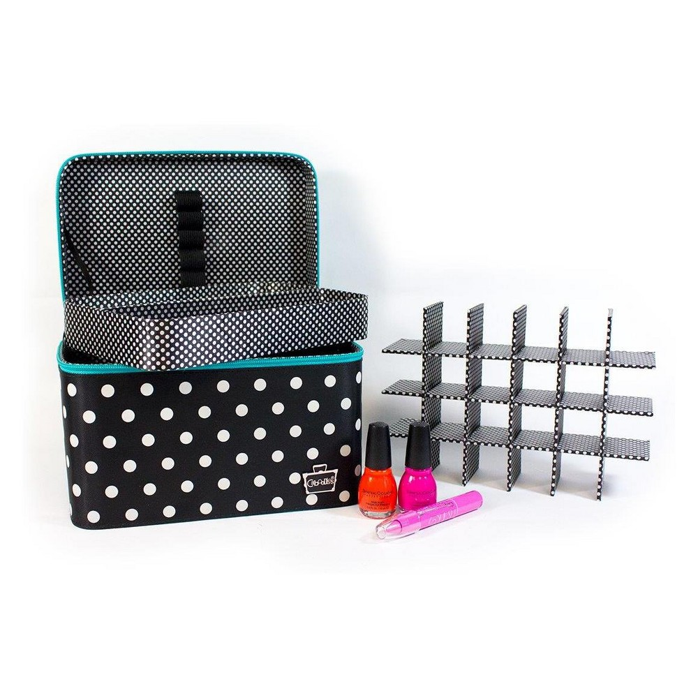 Caboodles Large Valet with Nail Polish Tray Black Patent