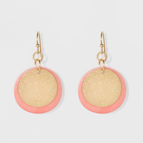 Diamond Dust Coins and Rivershell Disc Earrings - A New Day™ Pink/Gold - image 1 of 4