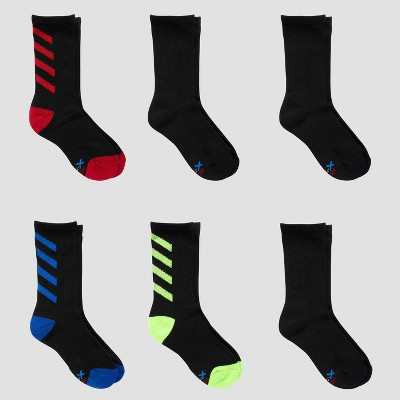 Boys' Hanes premium 6pk Striped Crew Socks - Colors May Vary