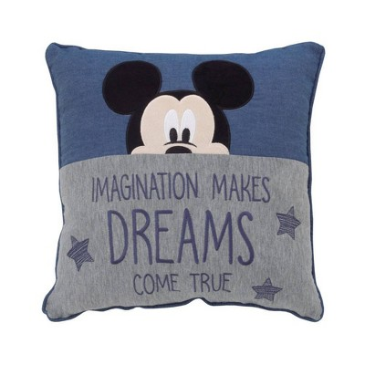 Disney Mickey Mouse Hello World Appliqued Throw Pillow - Navy/Gray/White