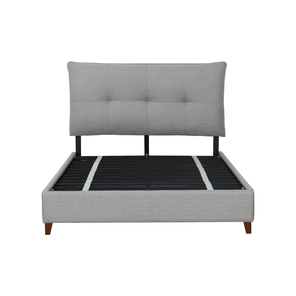 Best Buy Full Grosvenor Upholstered Pillow Top Complete Bed Light Gray John Boyd Designs