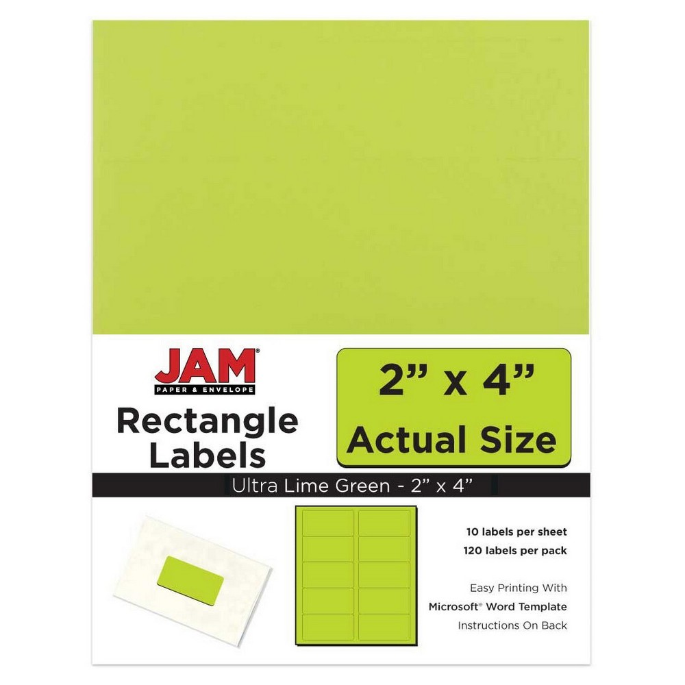 """Image of """"JAM Paper Mailing Labels 2"""""""" X 4"""""""" 120ct - Lime Green, Green Green"""""""