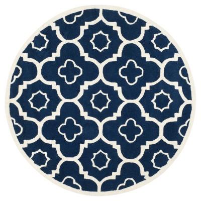 Dark Blue/Ivory Abstract Tufted Round Accent Rug - (3' Round)- Safavieh®