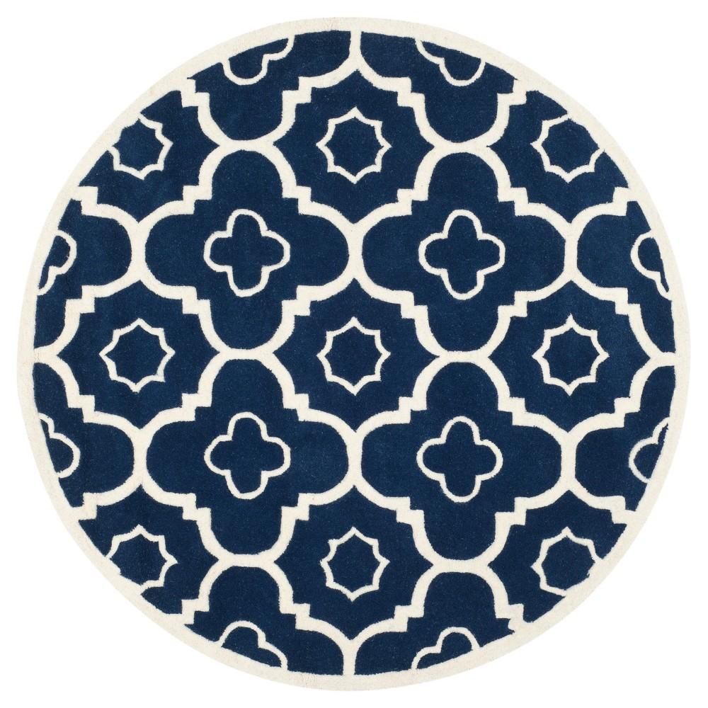 Dark Blue/Ivory Abstract Tufted Round Area Rug - (7' Round) - Safavieh
