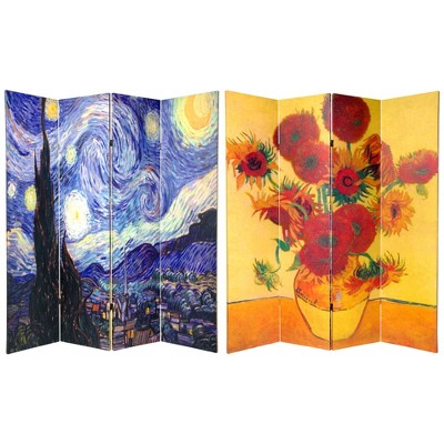 6' Tall Double Sided Works Of Van Gogh Canvas Room Divider 4 Panel - Oriental Furniture
