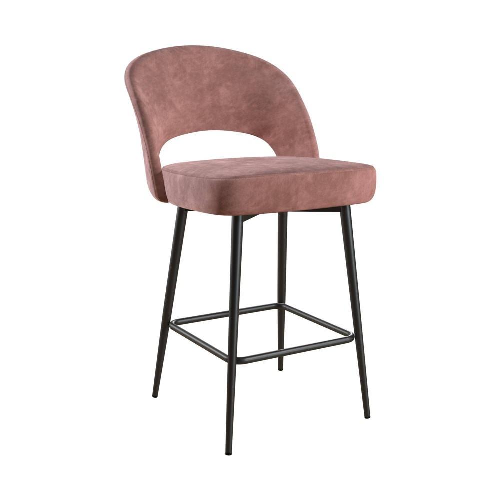 Image of Alexi Upholstered Counter Stool Dark Blush Pink Velvet - Cosmoliving By Cosmopolitan