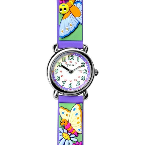Girls' Fusion Butterfly and Flower Watch - Purple/Mint - image 1 of 2