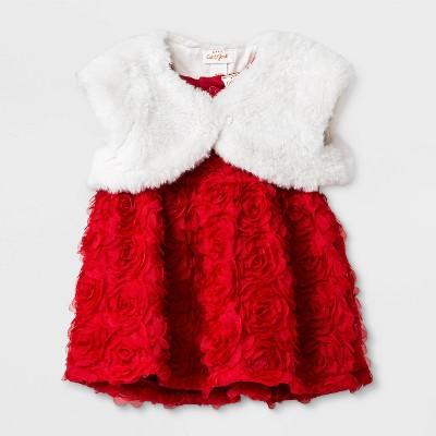 Baby Girls' Rosette Mesh Dress Set - Cat & Jack™ Red Newborn
