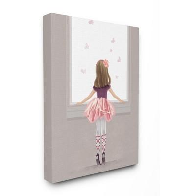 Stupell Industries Little Ballerina Dancer Girl Butterfly Pink Purple