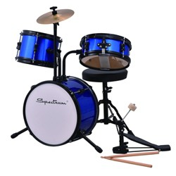 Spectrum Music Junior Drum Set with Throne, Bass Pedal and Drum Sticks - Blue