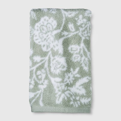 Performance Floral Texture Hand Towel Light Sage Green - Threshold™