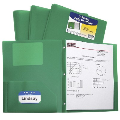 C-Line Poly Portfolio Folder with Prongs, 2-Pocket, Green, pk of 25