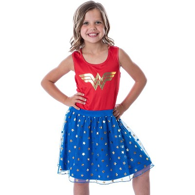 DC Comics Girl's Wonder Woman Logo and Stars Tank Nightgown Costume Pajama