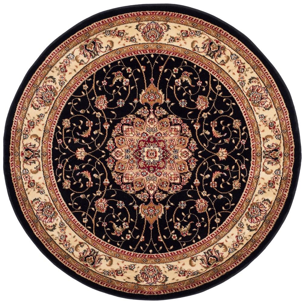 Black/Ivory Floral Loomed Round Area Rug 7' - Safavieh