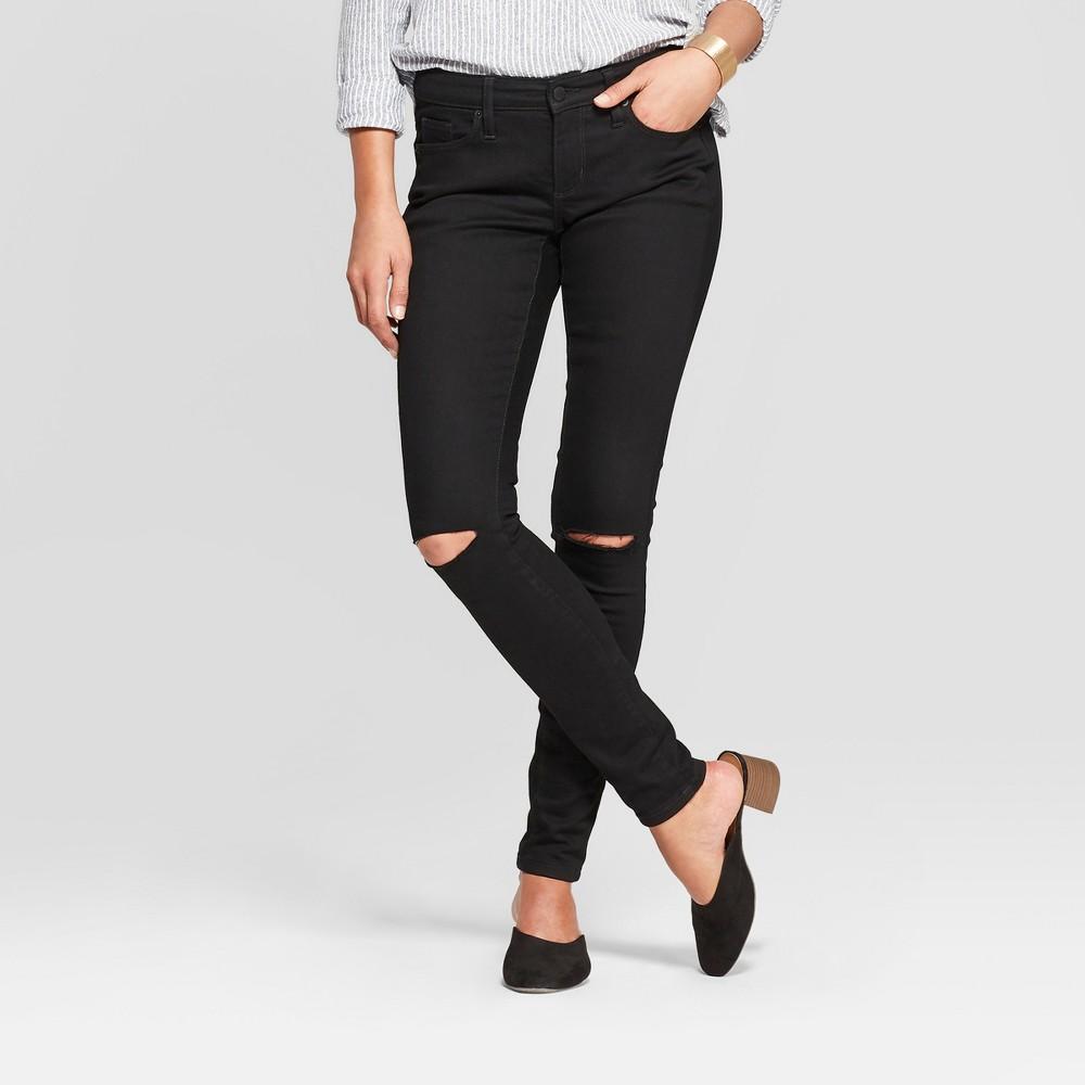 Women's Mid-Rise Slit Knee Skinny Jeans - Universal Thread Black Wash 4 Long