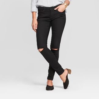 3791dfc7a80be Women s Mid-Rise Slit Knee Skinny Jeans - Universal Thread™ Black ...