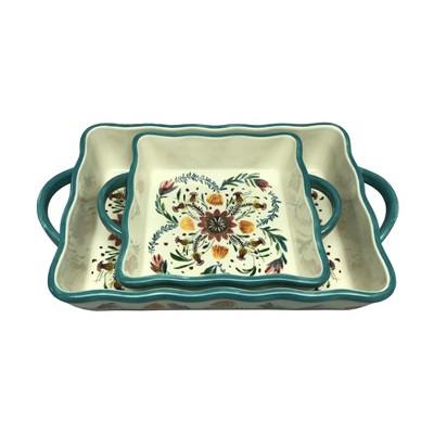 Stoneware Inglazed Set of 2 Bakeware - Threshold™