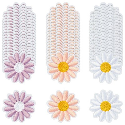 Bright Creations 60 Pieces Daisy Flower Iron on Embroidery Patches (1.6 x 1.6 in, 3 Colors)