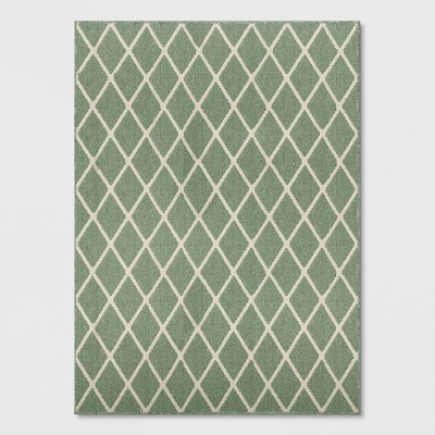 5'X7' Diamond Washable Tufted And Hooked Area Rug Green - Threshold™