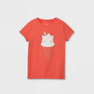Girls' Ice Cream Unicorn Cat Graphic Short Sleeve T-Shirt - Cat & Jack™ Coral