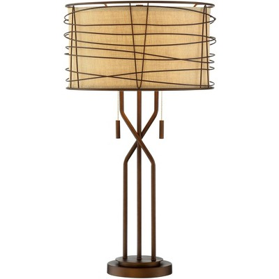 Franklin Iron Works Modern Table Lamp Metal Woven Bronze Burlap Drum Shade for Living Room Family Bedroom Bedside Nightstand