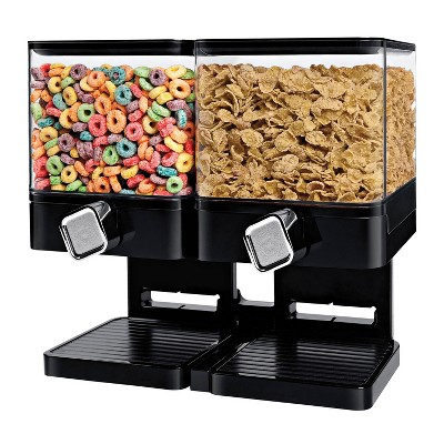 Zevro Compact Edition Dry Food Dispenser Double 17.5 Oz. Canister - Black