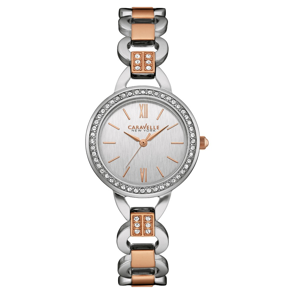 Caravelle New York by Bulova Women's Two-Tone Rose Gold Stainless Steel Bracelet Watch- 45L157, Size: Ladies