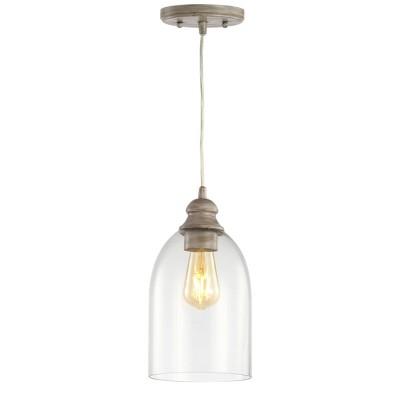 "6.25"" LED Adjustable Glass Greige Pendant Gray - Jonathan Y"