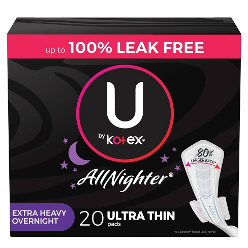 U by Kotex AllNighter Ultra Thin Overnight Pads with Wings - Extra Heavy - Unscented - image 1 of 4