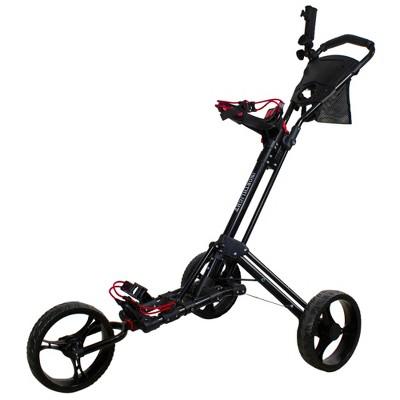 "Northlight 48"" Black Easy Folding 3 Wheel Golf Bag Push Cart"
