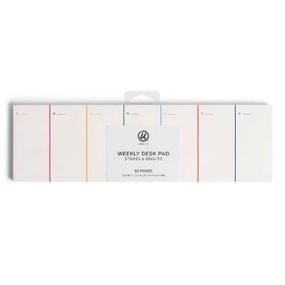 U Brands 52pg Weekly Desk Pad Stripes & Brights