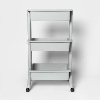 3 Tier Plastic Storage Cart Light Gray - Room Essentials™