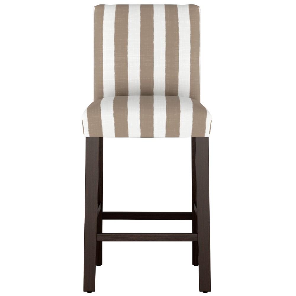 Hendrix Bar Stool with Espresso Legs Taupe/White Stripe (Brown/White Stripe) - Cloth & Co.